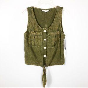 Vanilla Star NEW Green Sleeveless Tie Top Size M